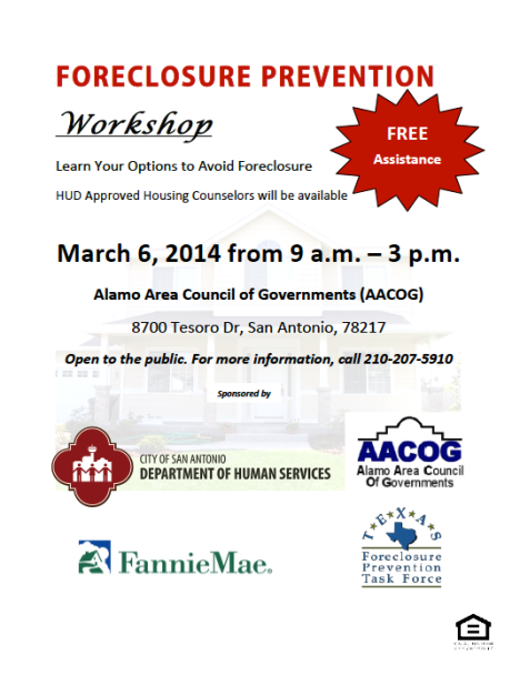 San Antonio Foreclosure Prevention - March 6th 2014